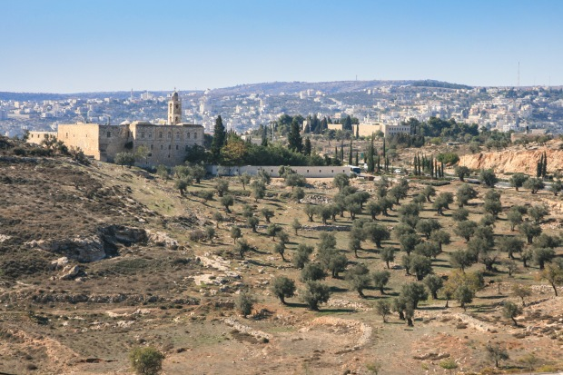 """View looking south southeast towards Bethlehem.  The Elisa Monastery on the left side of the picture is situated in a low """"saddle"""" and from it one can look down into Bethlehem or back to modern Jerusalem."""
